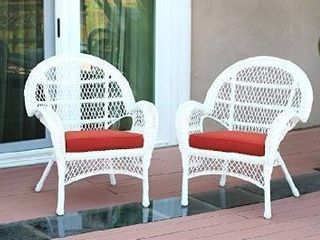 Jeco Wicker Chair with Red Cushion  Set of 2  White