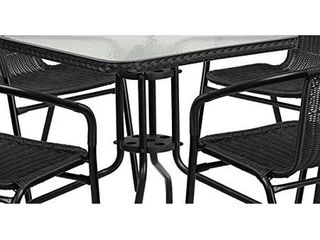 4 Black Rattan Stack Chairs