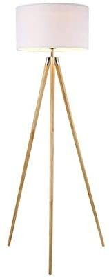 Ambiore Wood Tripod Floor lamp Maud a Modern Elegant Indoor Standing light DAMAGED  NOT FUllY INSPECTED OUTSIDE BOX