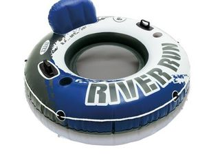Intex River Run I Sport lounge  Inflatable Water Float  53  Diameter APPEARS USED  NOT FUllY INSPECTED OUTSIDE BOX