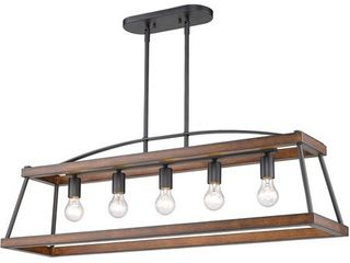 Golden lighting 3184 lP NB RO Teagan 5 light 40 inch Natural Black Kitchen Island light Ceiling light in Rustic Oak Wood Accents