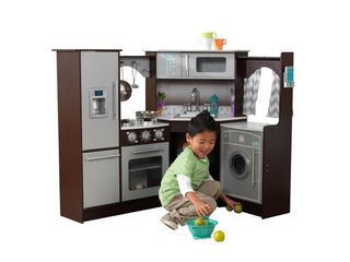 KidKraft Ultimate Corner Play Kitchen with lights   Sounds   Espresso