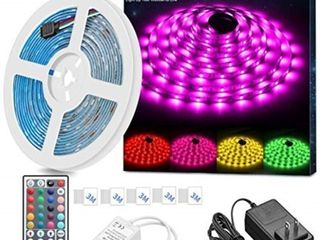 MINGER lED Strip light Waterproof 16 4ft RGB SMD 5050 lED Rope lighting Color Changing Full Kit with 44 Keys IR Remote Controller  Power Supply led lights for Bedroom Home Kitchen Decoration USED