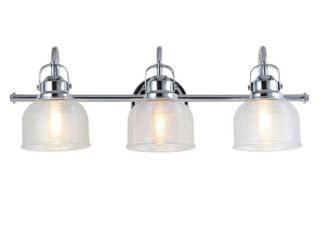JONATHAN Y JYl7409A Virginia 25 25  3 Metal Glass Vanity light Traditional Classic 2700K lED 4W Bulbs for Bedroom livingroom Bathroom Hallway  Chrome Clear   Not Inspected