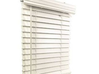 2 Faux Wood Cordless White Blind