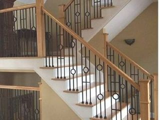 Contemporary Two Ring Stair Iron Balusters  10 Pack  Modern Hollow Double Ring Circle Metal Railing Spindles