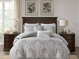 Harbor House Cozy 100  Cotton Comforter Set Classic Modern Design All Season Down Alternative Casual Bedding  Matching Shams  Full 80 x90  Hallie  Damask Grey 6 Piece