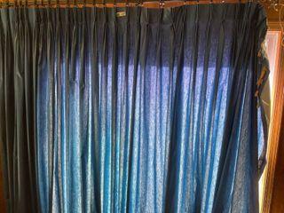 long Blue Curtain