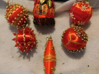 Ornate Silk Wrapped Ornaments  6 ea