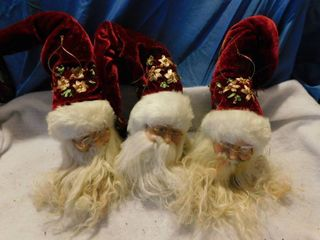 Santa Ornaments  3 ea