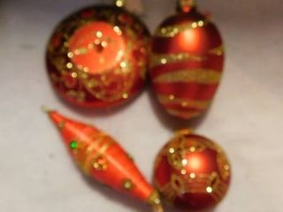 Red Glittery Christmas Ornaments