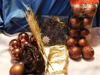 Brown   Gold Christmas Tree Decorating lot