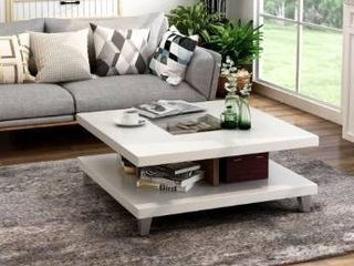 Furniture of America Sele Contemporary Walnut White Storage Coffee Table  Retail 311 99