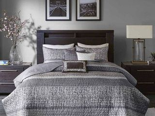 Madison Park Melody Grey  Taupe Quilted Coverlet Set  Retail 119 98