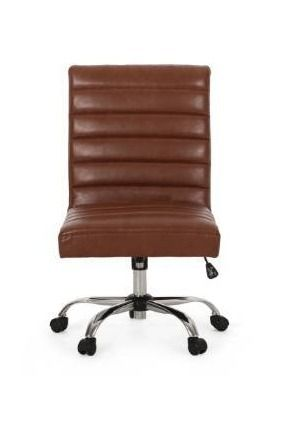 Sagle Contemporary Channel Stitch Swivel Office Chair by Christopher Knight Home   Cognac Brown   Silver