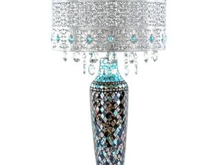 Metal Mosaic Hanging Glass Crystals Silver 24 25 inch High Table lamp   13 l x 13 W x 24 25 H  Retail 201 49