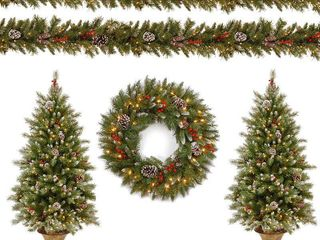 National Tree Company Frosted Berry Assortment  2x 4  Entrance Trees with Clear lights   24  Wreath with Warm White Battery Operated lights w Timer   2 x 9 x10  Garland with Clear light
