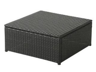 Outdoor Coffee Table Black with Glass Top