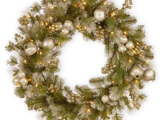 National Tree 30 inch Glittery Pomegranate Pine Wreath with Battery Operated lED lights Size 24