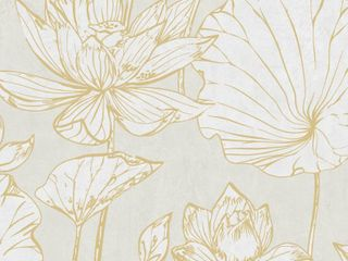Set of 4 Seabrook Designs lotus Floral Paper Strippable Roll  Covers 60 75 sq  ft per  Metallic Gold and Off White
