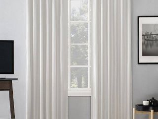 Set of 2  95 x50  Evelina Faux Dupioni Silk Thermal Back Tab Extreme Blackout Curtain Panel Pearl   Sun Zero
