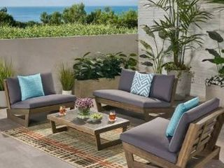 Sherwood Outdoor 4 Seater Acacia Wood Chat Set by Christopher Knight Home  Retail 787 99