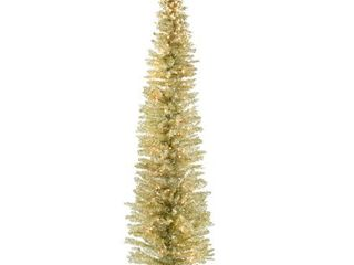 7ft National Christmas Tree Company Champagne Tinsel Slim Artificial Christmas Tree 210ct Clear