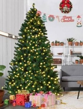 7 5 Ft Pre lit Pvc Artificial Christmas Tree Auto spread close Up Premium Spruce