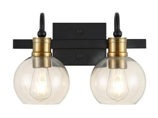 JONATHAN Y Marais 14 5 in  2 light Black Brass Gold Iron Glass Rustic Vintage lED Vanity light