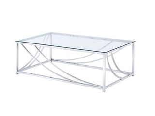 Rectangular Coffee Table with Swoop Accents Chrome
