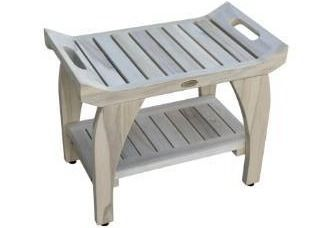 CoastalVogue Tranquility 24  Teak Wood Shower Bench with Shelf and liftAide Arms in Coastal Driftwood Finish