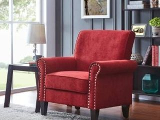 Copper Grove Herve Brick Red Velvet Arm Chair  Retail 269 49