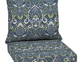 SET OF 3 Arden Selections Sapphire Aurora Damask Outdoor Deep Seat Set   46 5 in l x 25 in W x 6 5 in H