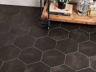SomerTile 7x8 inch Hextile Matte Nero Porcelain Floor and Wall Tile