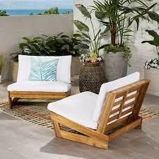 Sherwood Outdoor Acacia Club Chair with Cushions by Christopher Knight Home