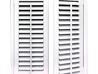 White 2 25 inch Slat Plantation Shutter  3 Sets of 2 Shutters