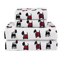 Winter Nights Cotton Flannel Sheet Set  Full  White   Elite Home