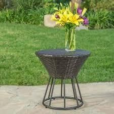 Crete Outdoor Wicker Side Table by Christopher Knight