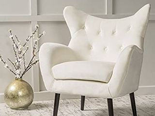 Christopher Knight Home Seigfried Velvet Arm Chair  Ivory