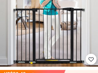Cumbor 46AaA Auto Close Safety Baby Gate  Extra Tall and Wide Child Gate  Easy Walk Thru Durability Dog Gate for The House  Stairs  Doorways  Includes 4 Wall Cups  2 75 Inch and 8 25 Inch Extension