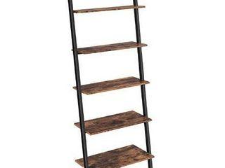 VASAGlE Alinru ladder Shelf leaning Shelf  5 Tier Bookshelf Rack  for living Room Kitchen Office  Stable Steel  Industrial Furniture   Rustic Brown UllS46BX