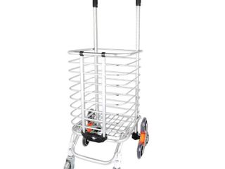 BeebeeRun Folding Shopping Cart Portable Grocery Utility lightweight Stair Climbing Cart with Rolling Swivel Wheels