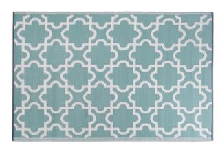 DII Moroccan Indoor Outdoor lightweight  Reversible    Fade Resistant Area Rug  Use For Patio  Deck  Garage  Picnic  Beach  Camping  BBQ  Or Everyday Use   4 x 6  Green lattice DAMAGED
