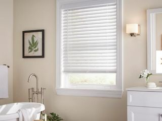 Allen   Roth cordless faux wood blind white