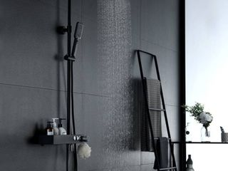 DoBrass Black Shower Faucets Set Complete with Pre embedded Valve  10 inch Square Rainfall Shower Head System with Handheld Shower and Tub Spout  Wall Mounted