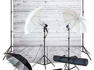 Julius Studio Wood Floor Backdrop with Umbrella lighting Kit  400W 5500K  10ft Background Support Stand  Bulb  Socket  Spring Clamp  White   Black Umbrella Reflector  Photography Studio  JSAG355   Not Inspected