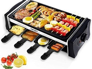 Hengbo House Kitchen Electric Smokeless Indoor Grill and Outdoor Electric Grills  Non Stick Barbecue Griddle with 8 Mini Pans  Adjustable Temperature Control Smoke Free BBQ for 6 Person