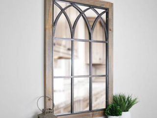 FirsTime   Co  Grandview Arched Window Mirror  37 5 H x 24 W  Weathered Brown