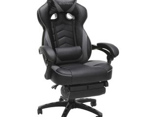RESPAWN 110 Racing Style Gaming Chair  Reclining Ergonomic leather Chair with Footrest  in Gray  RSP 110 GRY    Not Inspected