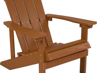 Flash Furniture Charlestown All Weather Adirondack Chair in Teak Faux Wood   Not Inspected